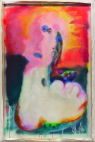Bloody gum-spitter!, 2021 oil, acrylic and distemper on canvas 165 x 109 cm