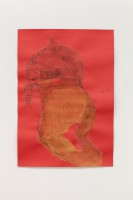Falling figure, 2021 distemper and graphite on paper 92 x 63.5 cm