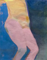 Falling figure, 2021 oil and distemper on canvas, 85 x 65 cm
